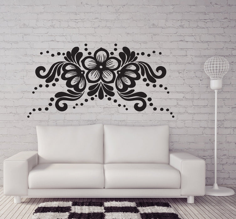 Vinyl Decal Flower Arrangement Horizontal Ornament Wall Sticker Living Room Decor Girls Room Decoration Unique Gift (n309)