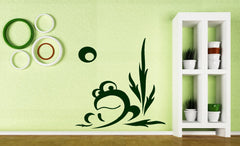 Vinyl Decal Cartoons for Kids Wall Stickers Curious Frog Croaking Swamp Cane Moon Night Unique Gift (n357)