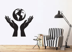 Vinyl Decal Nature Wall Stickers Hands Holding a Globe People Protect Earth Unique Gift (n366)