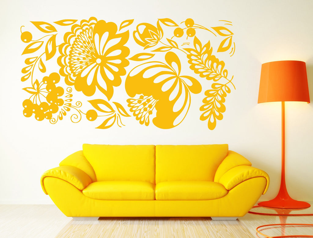 Vinyl Decal Floral Ornament Wall Sticker Living Room Decor Berry ...