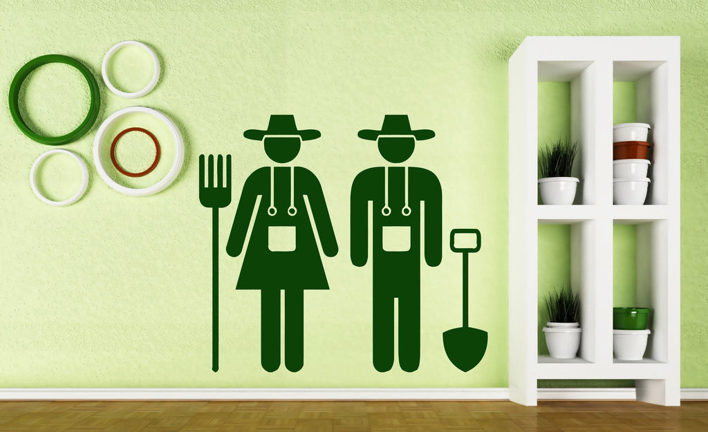Vinyl Decal Nature Wall Sticker Couple Farmers Land Cultivation Tools Unique Gift (n381)