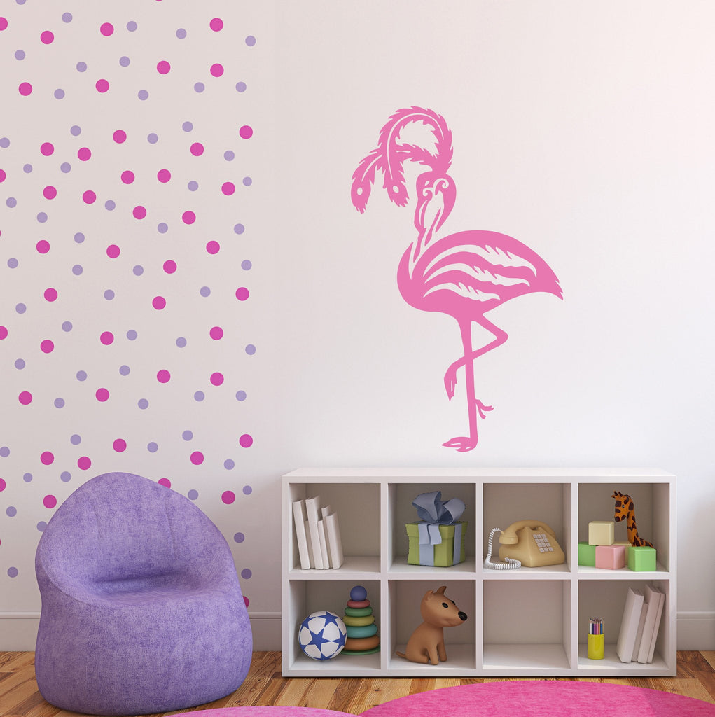 Vinyl Decal Beauty Animal Decor Wall Sticker Pink Flamingo Bird Amazing Flamingo long legs Image Unique Gift (n385)