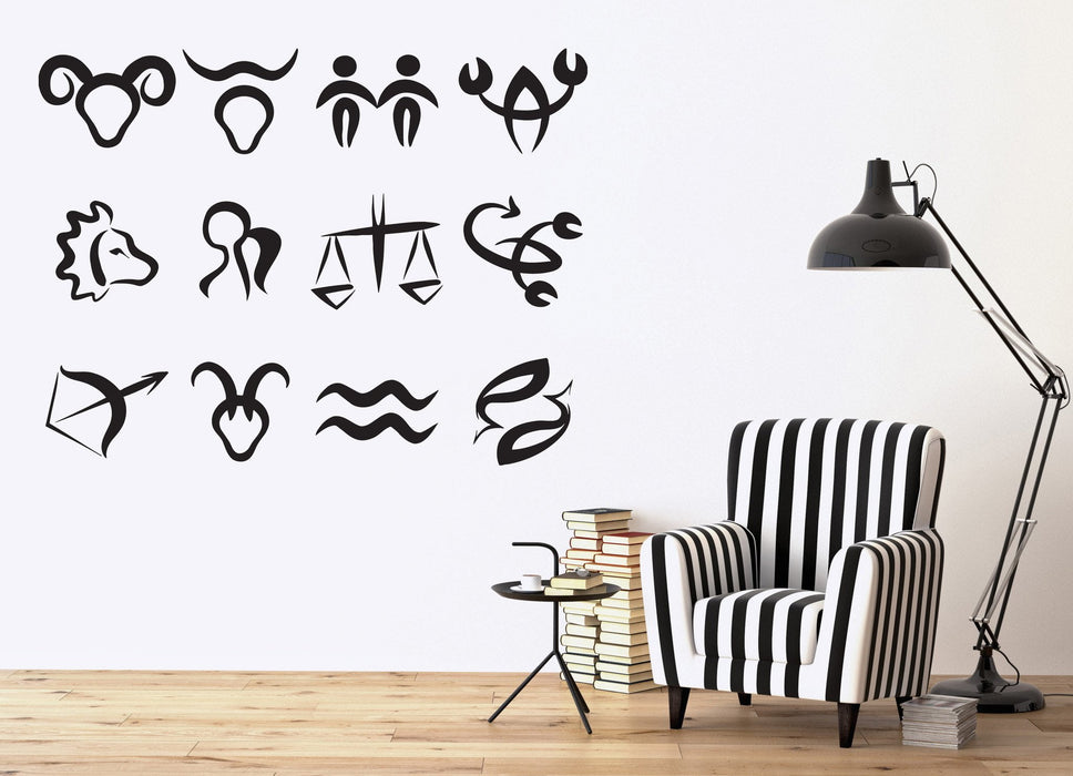 Vinyl Decal Astronomy Science Wall Stickers Symbols Zodiac Signs In