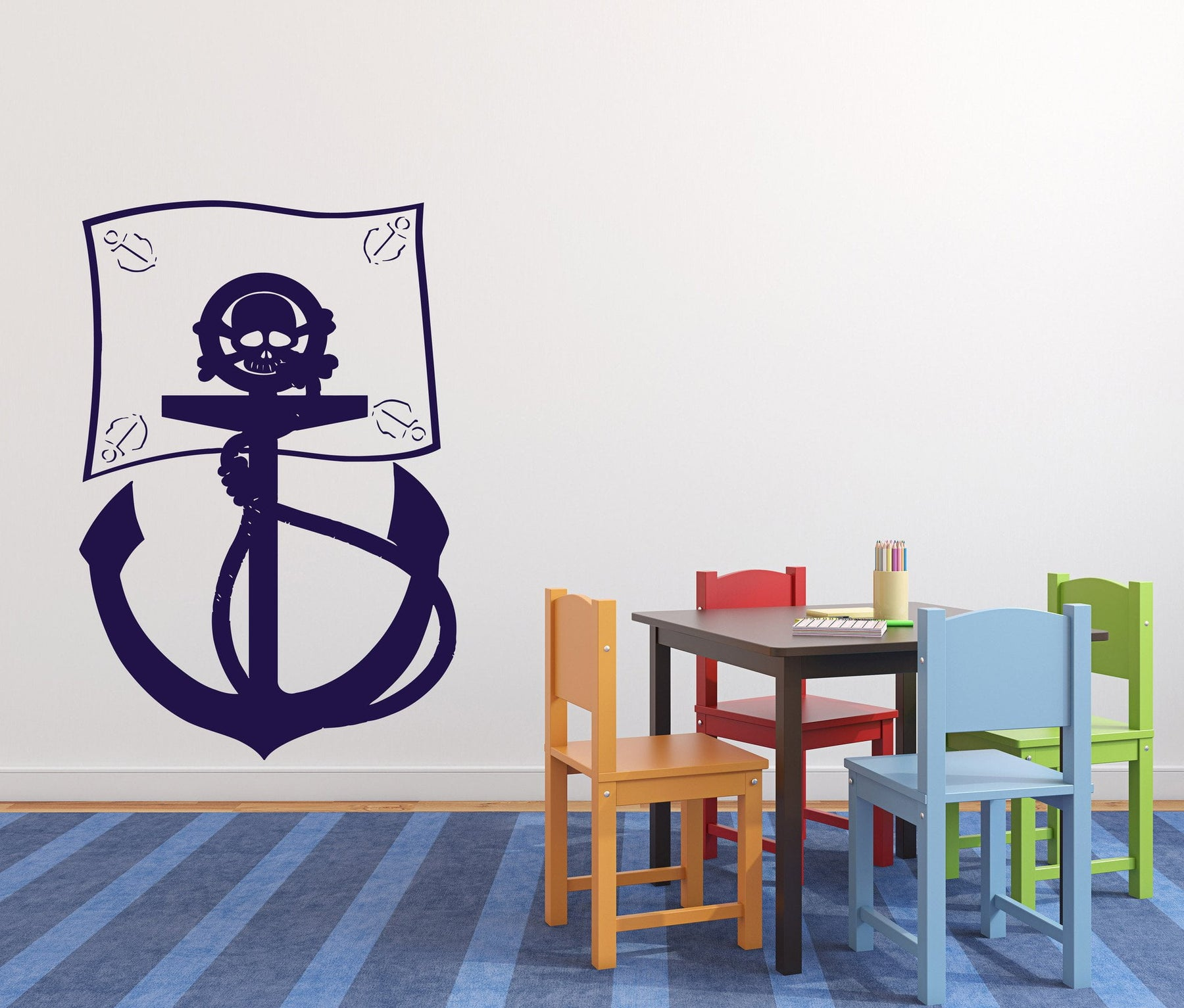 Vinyl Decal Сartoon Wall Sticker Pirate Flag Sea Bandits Anchor Skull Bones Unique Gift (n389)