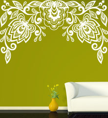 Vinyl Decal Floral Pattern Wall Sticker Very Beautiful Floral Pattern Embroidery Cutwork Unique Gift (n395)