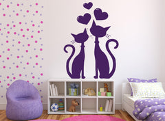 Vinyl Decal Wall Sticker Cat Couple in Love Heart in March Spring Unique Gift (n396)