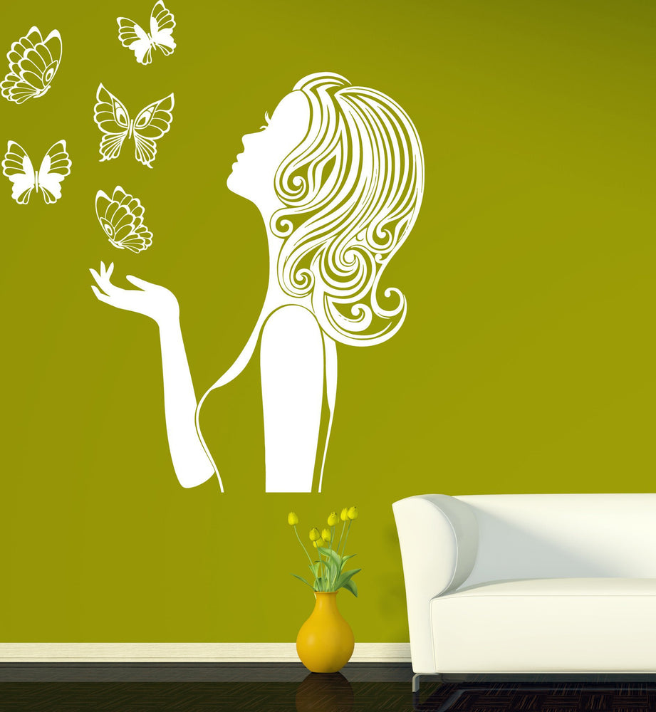 Vinyl Decal Beauty Decor Wall Stickers Beautiful Girl Silhouette ...