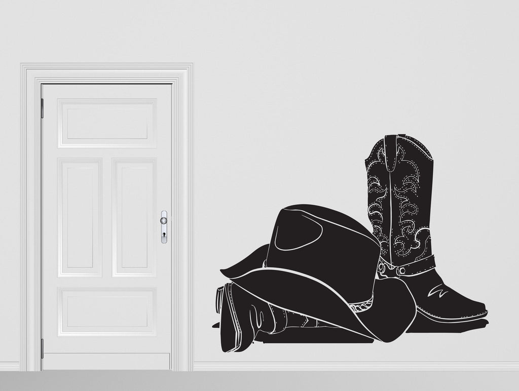 Vinyl Decal Attributes Cowboy Hat Stetson Leather Boots Wall Sticker Unique Gift (n414)