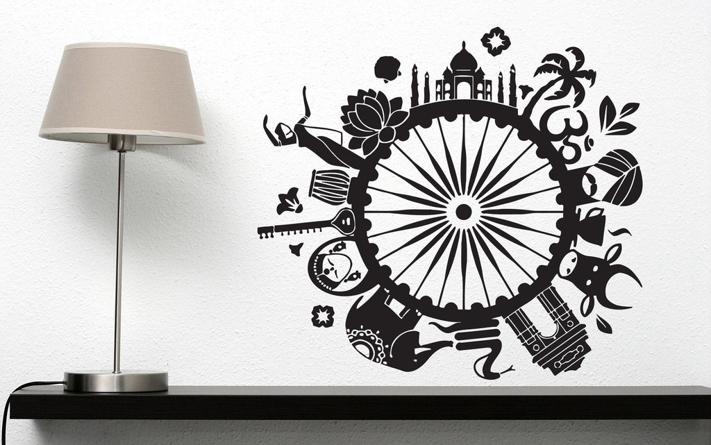 Vinyl Decal Symbols Culture Decor Wall Sticker Indian People Plants Animals  Unique Gift (n431)