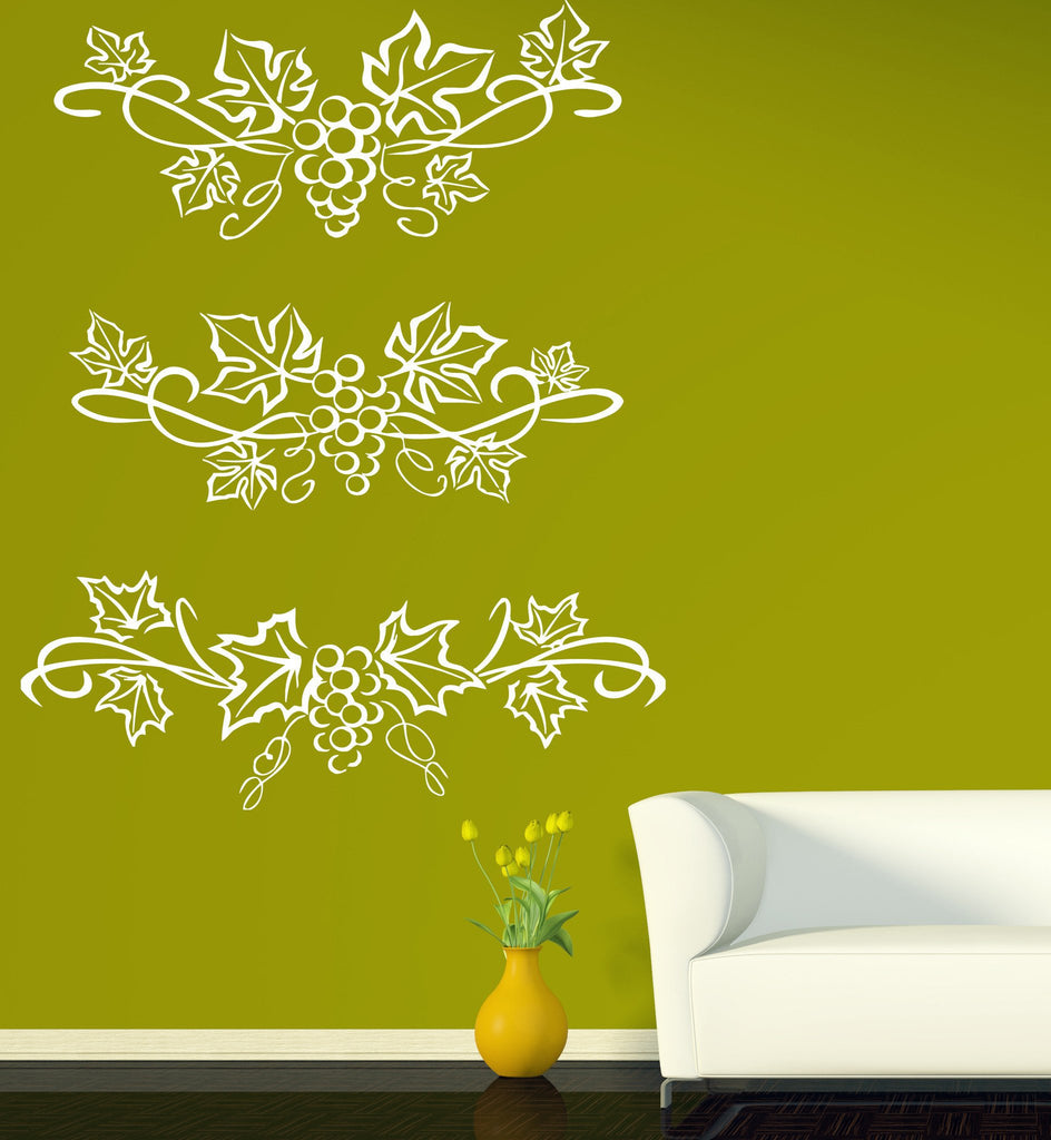 Vinyl Decal Beautiful Patterns Wall Stickers Grape Leaves and ...