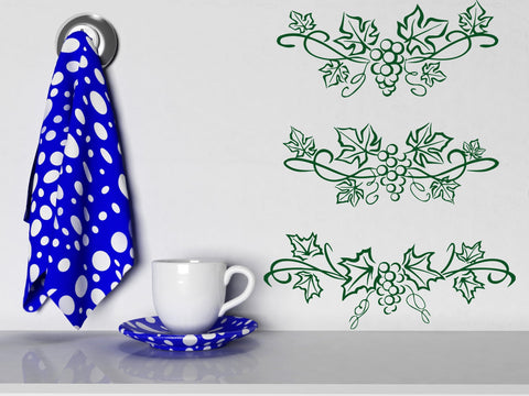Vinyl Decal Beautiful Patterns Wall Stickers Grape Leaves and Berries (n434)