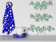 Vinyl Decal Beautiful Patterns Wall Stickers Grape Leaves and Berries Unique Gift (n434)