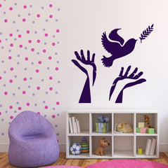 Vinyl Decal Symbol of Peace Wall Stickers Dove Olive Branch Hands Unique Gift (n437)