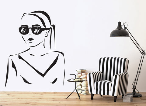 Vinyl Decal Wall Sticker Silhouette Beautiful Girl Hairstyle Sunglasses  (n447)