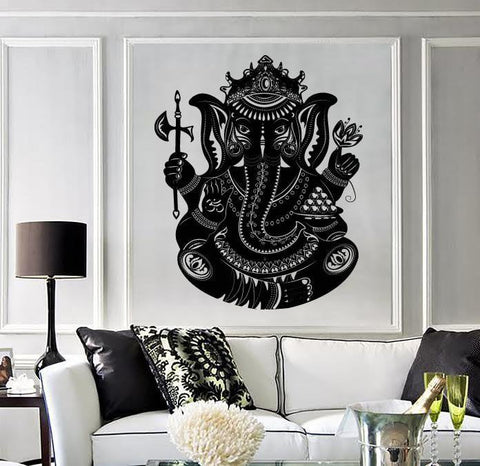 Large Wall Vinyl Sticker Indian Deity God Ganesha Head Elephant (z4547)