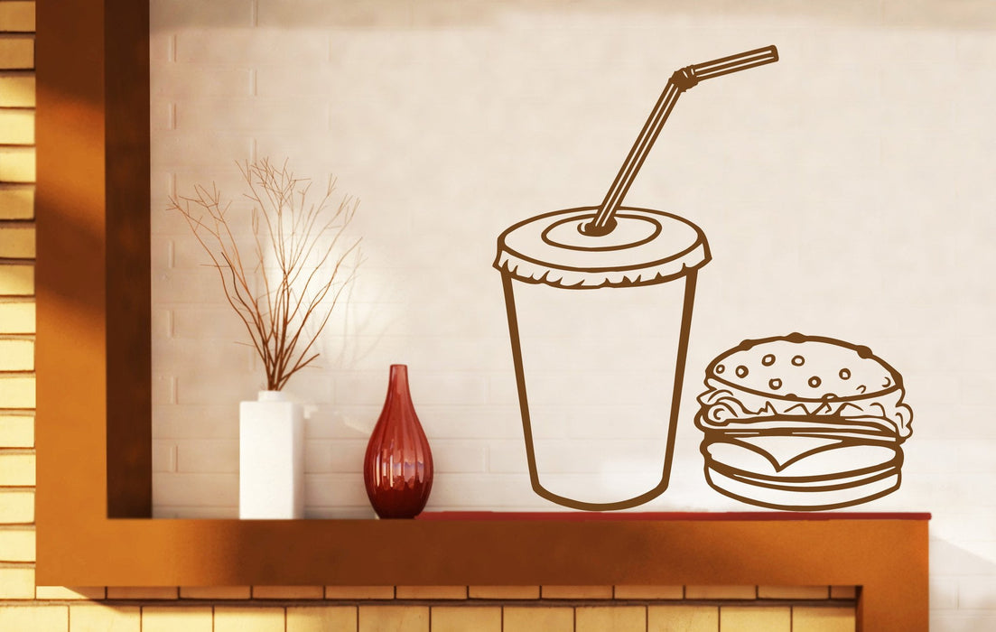Vinyl Decal Fast Food Rapid Delicious Cola Hamburger Cutlet Wall Sticker Unique Gift (n456)