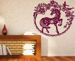 Vinyl Decal Wall Stickers Fairy Story Little Pony Paradise Birds Flowers Berries Unique Gift (n457)