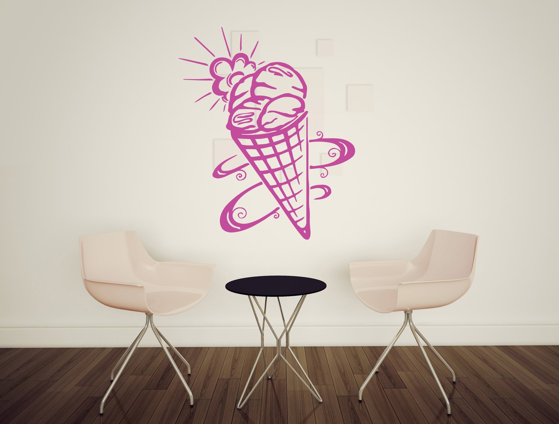 large Wall Sticker Ice Cream Waffle Cup Tasty Sweet Vinyl Decal (n473)