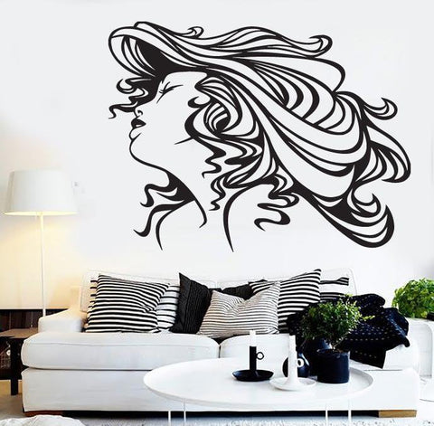 Vinyl Decal Spa Beauty Silhouette Sexy Lady Beautiful Hair Wall Stickers  (n480)
