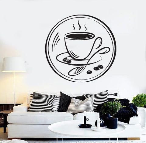 Vinyl Decal Coffee Couple Grain Coffee Shop Restaurant Wall Stickers (n485)