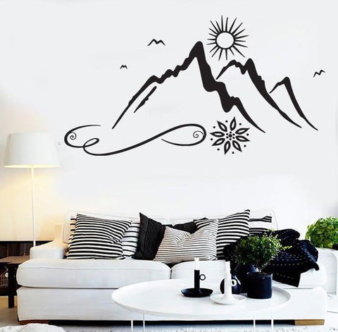 Vinyl Decal beautiful natural landscape sun mountain peaks  Wall Sticker (n506)