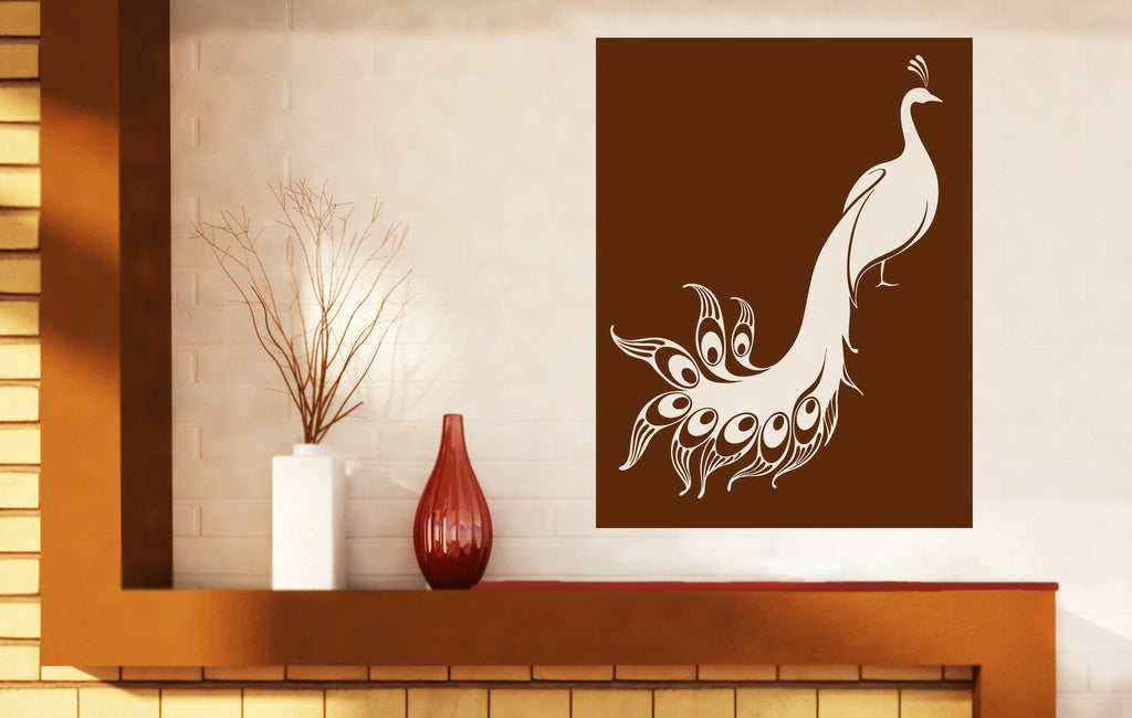 unusual wall stickers decorating wall stickers vinyl wonderful bird peacock plumage pretty unusual tail unique gift n509