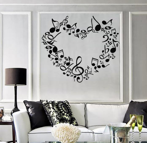 Large Wall Sticker Vinyl Decal heart notes of love symphony music signs (n518)