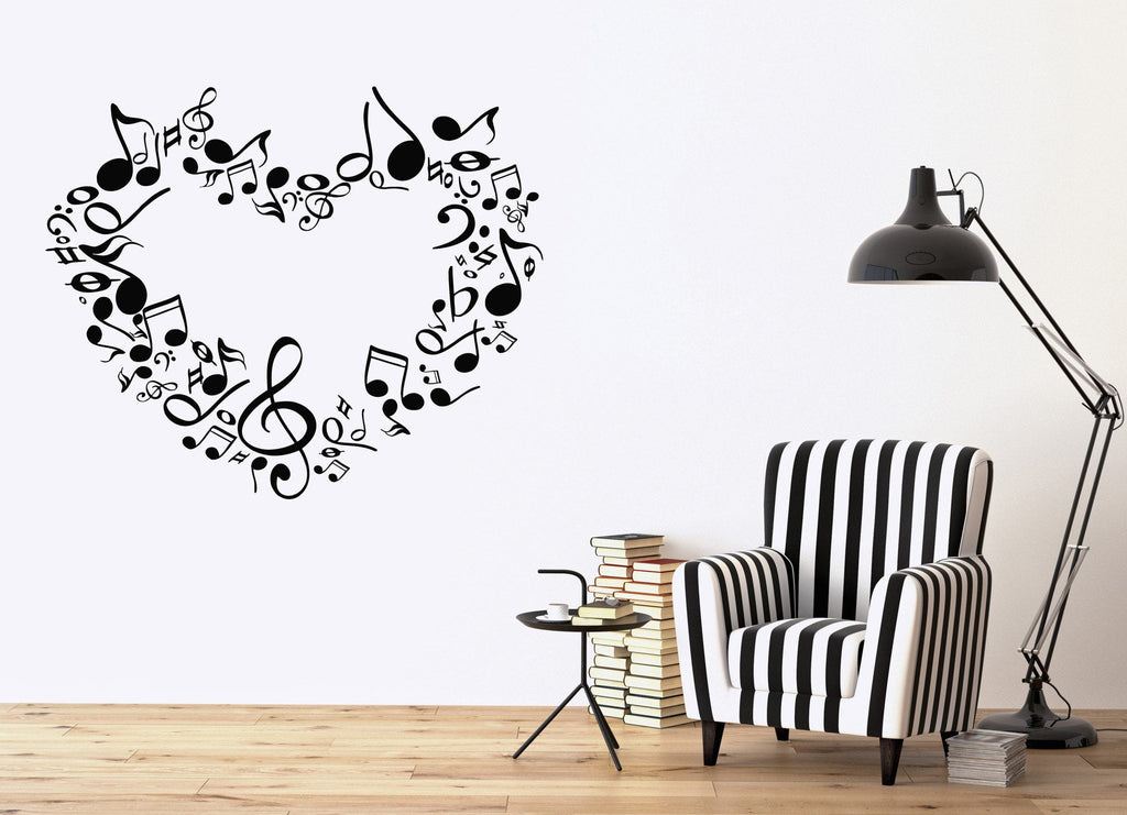 Large Wall Sticker Vinyl Decal Heart Notes Of Love Symphony Music Signs  Unique Gift (n518