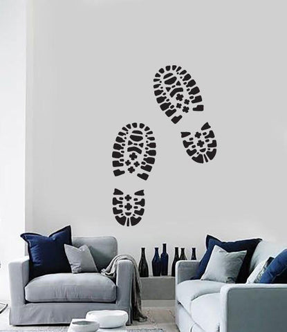 Large Wall Sticker Vinyl Decal Traces Male Brutal Boot Soles (n520)