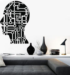Large Wall Vinyl Sticker Decal Head Science Micro Chip Artificial Modern Decor Unique Gift (n522)
