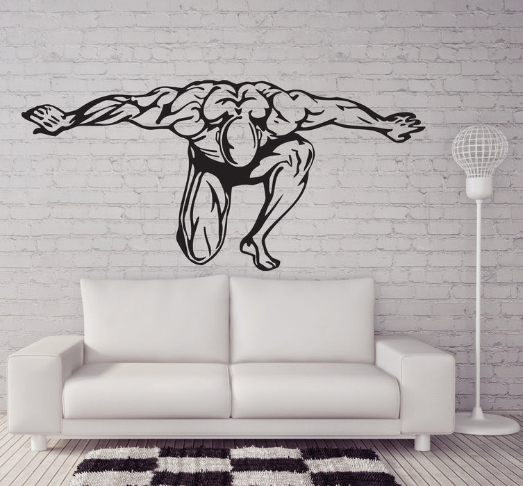 Vinyl Decal Wall Sticker Bodybuilding Fitness Muscle Man Sports Decor Unique Gift (n523)