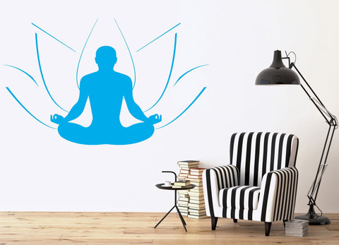 Large Wall Sticker Vinyl Decal symbol yoga meditation man & Lotus (n527)