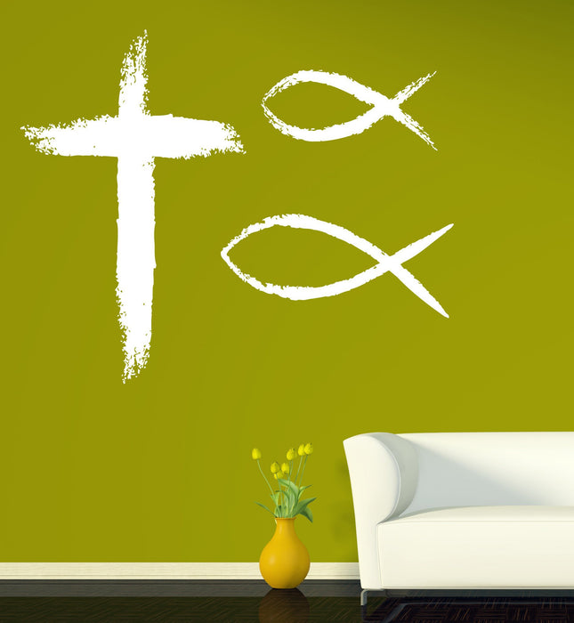 Large Wall Sticker Vinyl Decal Christian Symbols Faith Religion