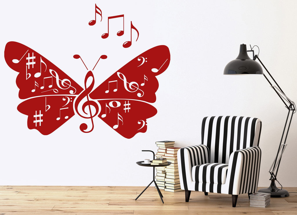 wall vinyl sticker musical notes signs butterfly wings song unique