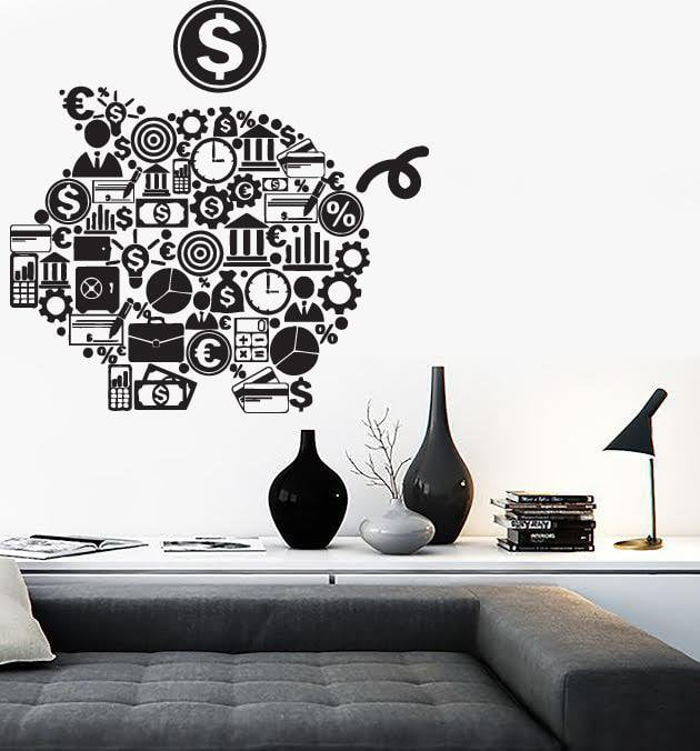 Wall Stickers Piggy Bank Symbols Business World Money Vinyl Decal