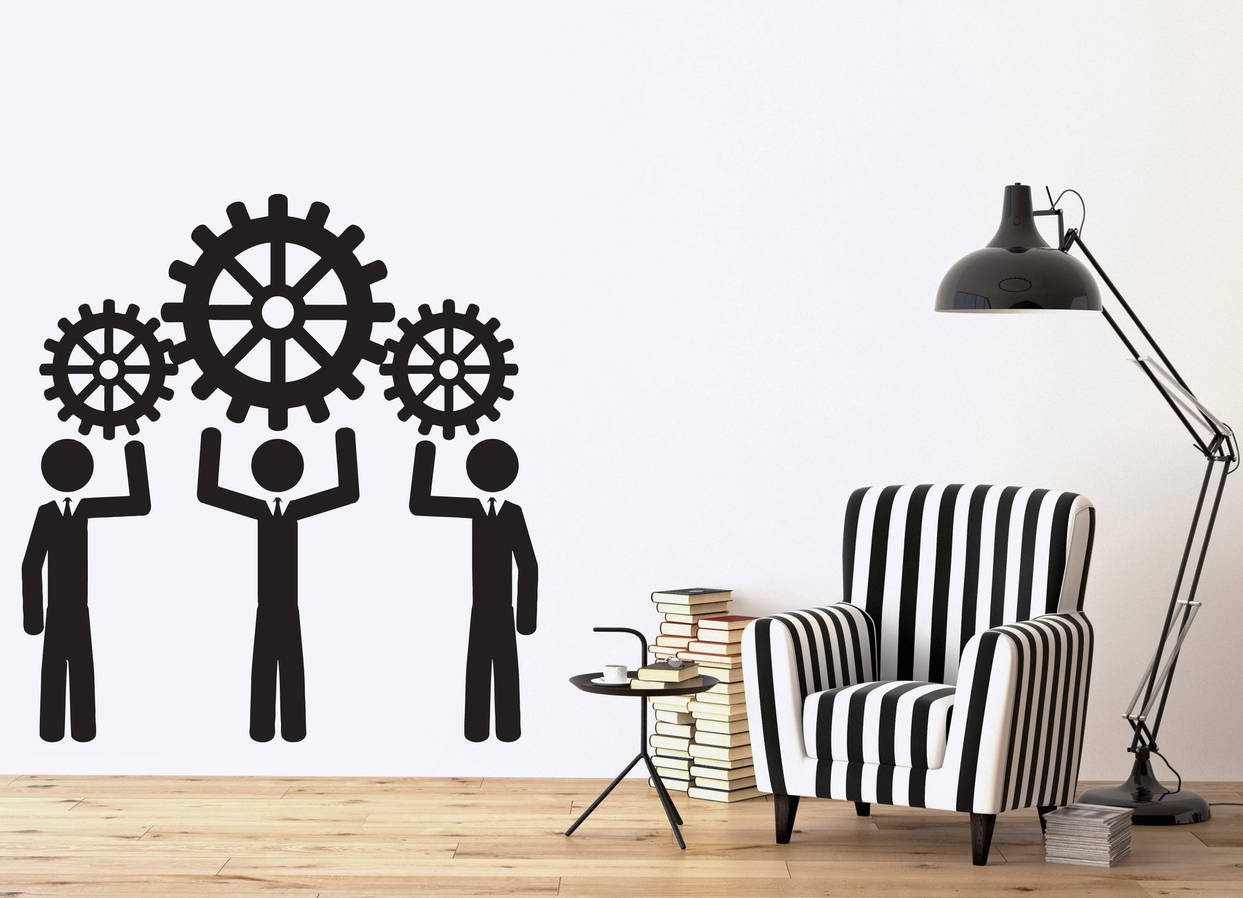 Vinyl Decal Wall Sticker Teamwork Business People Work Thinking Thought Wheel (n555)