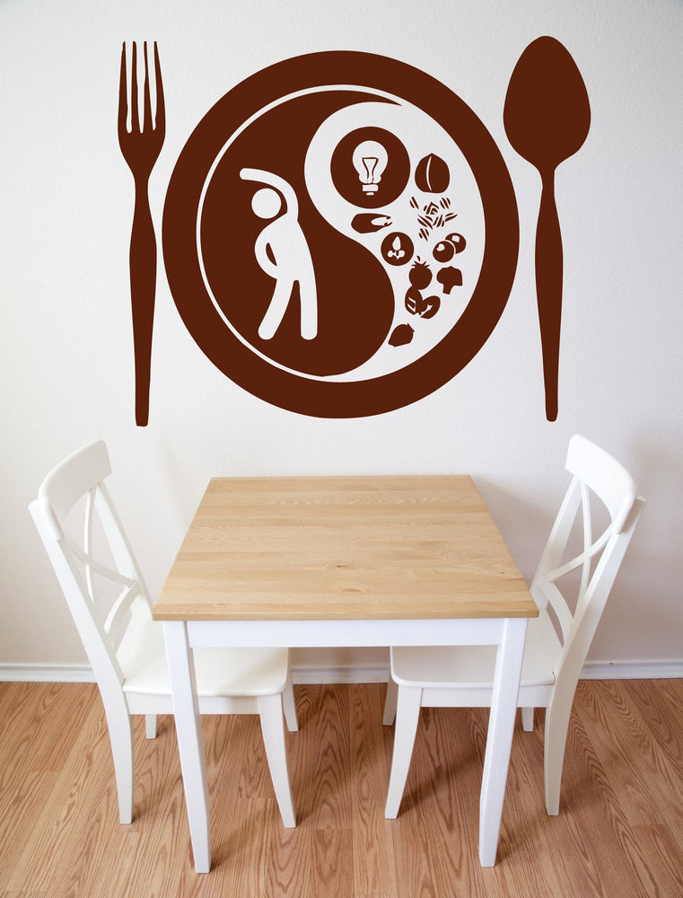 Vinyl Decal fork spoon plate food taste appetites Wall Sticker Unique Gift (n564)