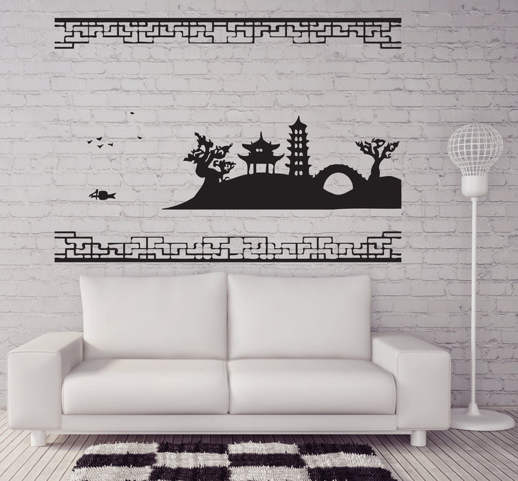 Large Vinyl Decal Landscape Attributes Chinese Pagoda Sakura Wall Sticker (n568)