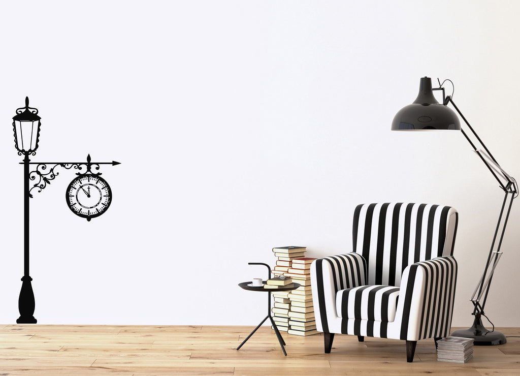 Large Vinyl Decal Vintage Lamp Post with a Clock Wall Sticker (n570)