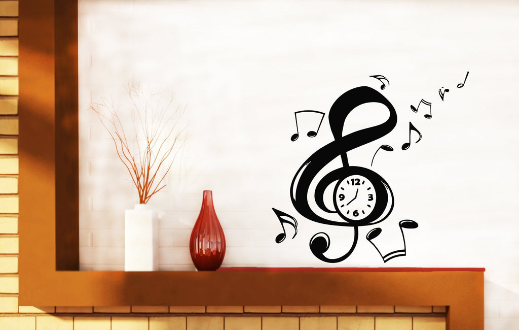 Large Vinyl Decal Music Notation Clef Sign Arrows Clock Wall Sticker (n582)