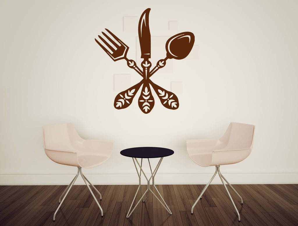Large Vinyl Decal Cutlery Spoon Fork Knife Design Cafe Restaurant Wall Sticker (n584)