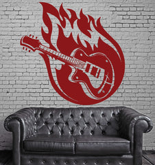 Large Vinyl Decal Colorful Music Guitar Strings Fire Wall Sticker (n591)