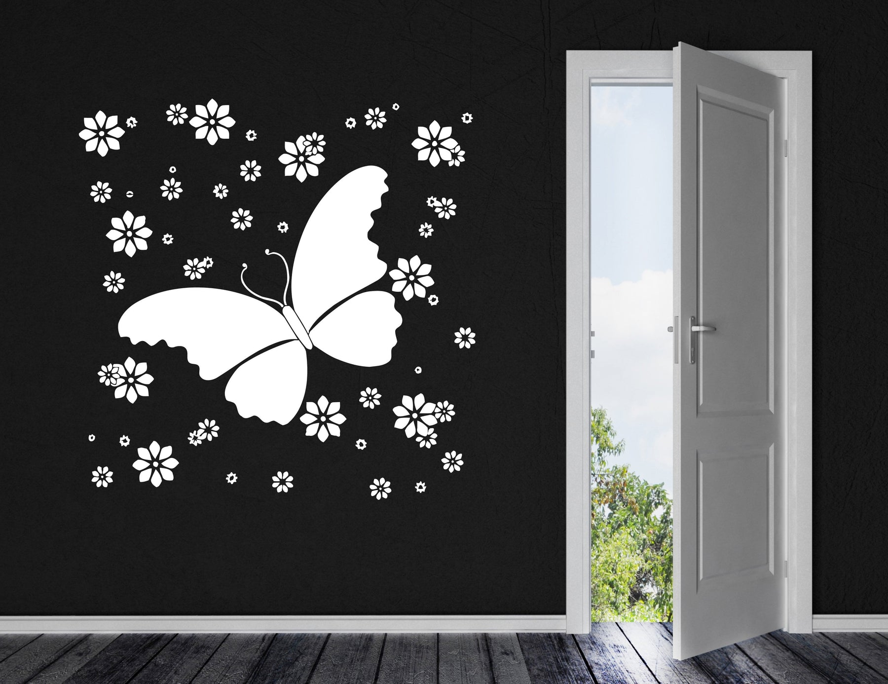 Vinyl Decal Wall Sticker Beautiful Butterfly Decor Flowers Patterns Ornament (n597)