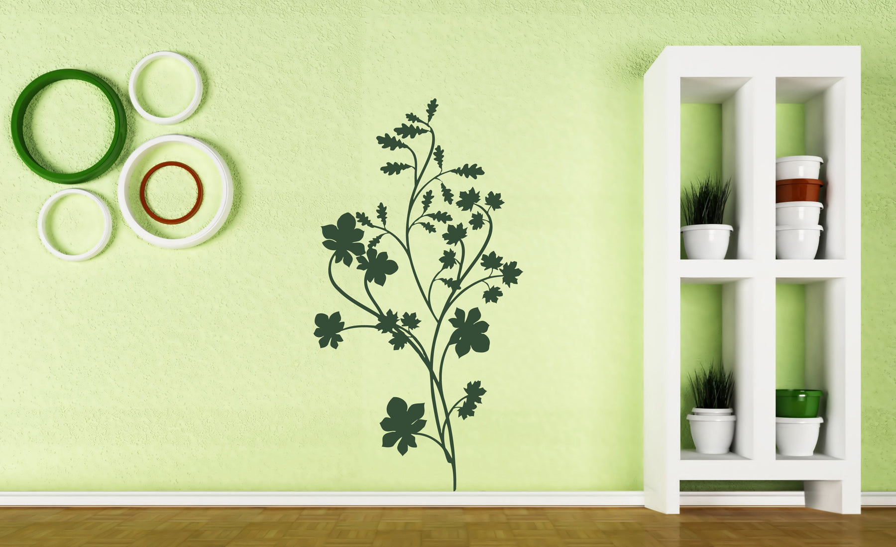 Large Vinyl Decal Floral Pattern Ornament Indoor Decoration Wall ...