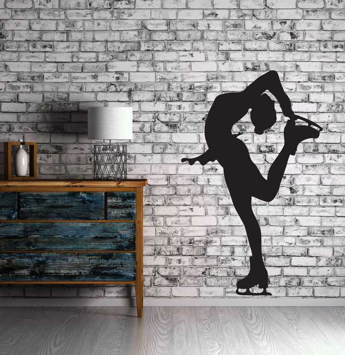 Large Vinyl Decal Silhouette Sportswoman Figure Skating Wall Sticker (n602)