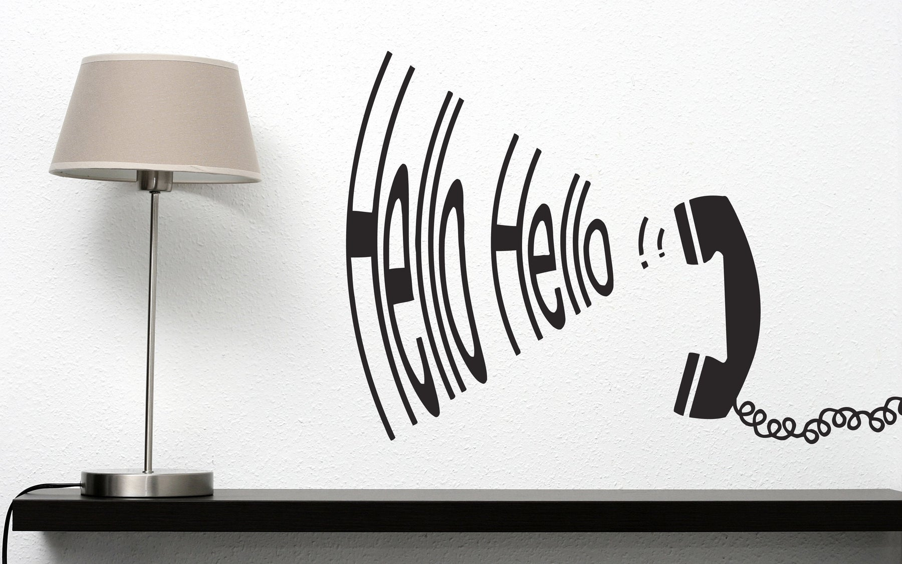Vinyl Decal Vintage Telephone Handset Hello Hello Reply Wall Sticker (n617)