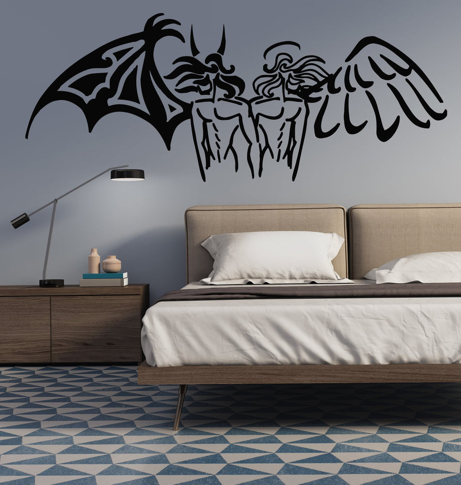 Vinyl Decal Opposites Black White Angel Demon Large Wall Sticker (n623)