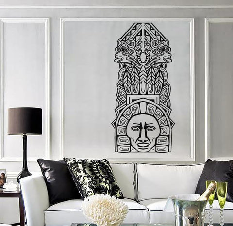 Large Vinyl Decal Wall Sticker Aztec Totem Poles North American resident (n726)