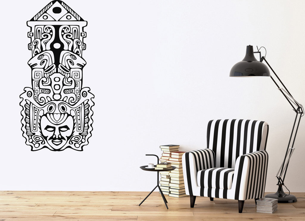 Large Vinyl Wall Sticker Aztec Totem Poles North American Unique Gift (n728)