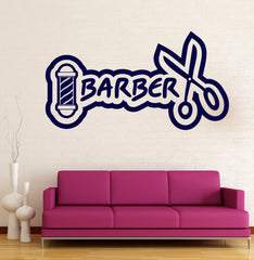 Large Vinyl Decal Wall Sticker Barber Icon Barber Shop Salon Haircut Unique Gift (n730)